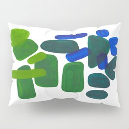 Mid Century Vintage Abstract Minimalist Colorful Pop Art Phthalo Blue Lime Green Pebble Shapes Pillow Sham