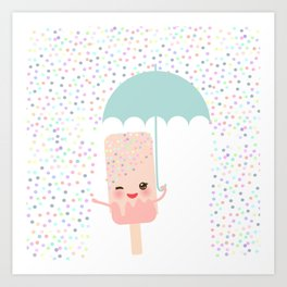 pink ice cream, ice lolly holding an umbrella. Kawaii with pink cheeks and winking eyes Art Print