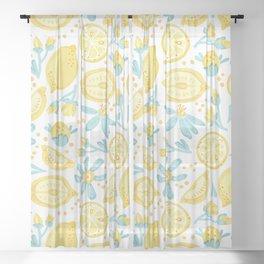 Lemon pattern White Sheer Curtain