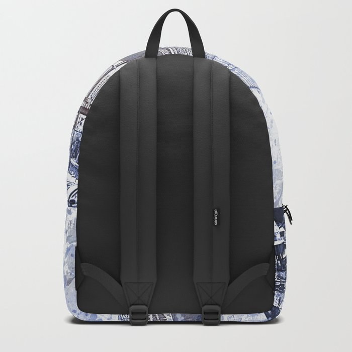Brooklyn Bridge New York USA Watercolor blue Illustration Backpack