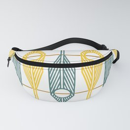 Geometric Feathers in Gold and Green on White Fanny Pack