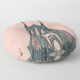 St. Johns Bridge Illustration Pink PDX Floor Pillow