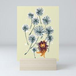 Lion on dandelion Mini Art Print