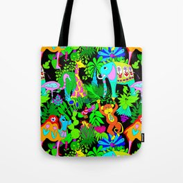 60's Groovy Zoo in Black Tote Bag