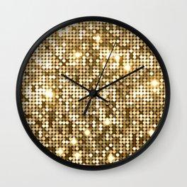 Golden Metallic Glitter Sequins Wall Clock