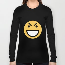 Smiley Face   Big Grinning Eyebrow Raised Face Long Sleeve T-shirt