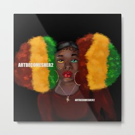 Red, Gold & Green Giant Afro Puffs Metal Print