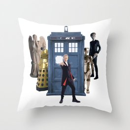 Doctor Who & Enemies Throw Pillow