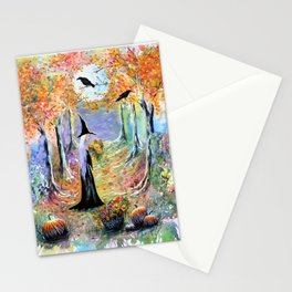 """Autumn Forest"" Witch in colorful forest Stationery Cards"