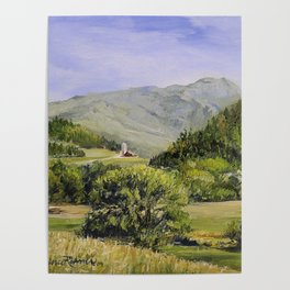 Pastures and Mount Mansfield Oil Landscape Vermont Painting Poster