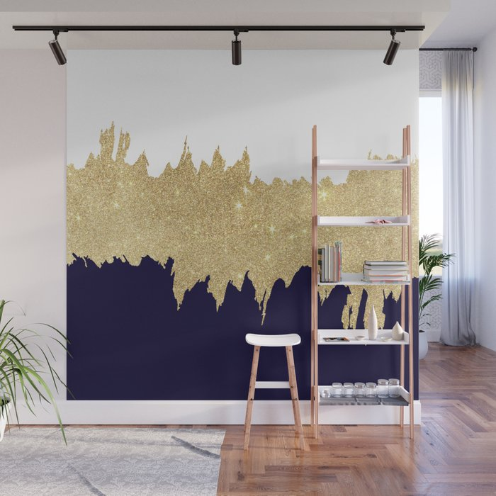 Modern Navy Blue White Faux Gold Glitter Brushstrokes Wall Mural By Pink Water