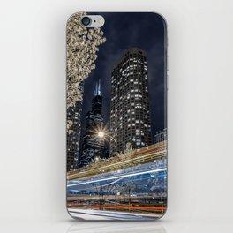 Chicago Skyline as Tron Bikes Zip Past iPhone Skin