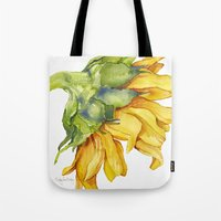 sunflower Tote Bags featuring Sunflower by Cindy Lou Bailey
