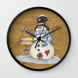 Folk Art Snowman Christmas Wall Clock