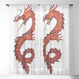 Mythical Red Dragon Sheer Curtain