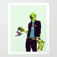 boneface Art Prints featuring Creature from the Black Lagoon by boneface