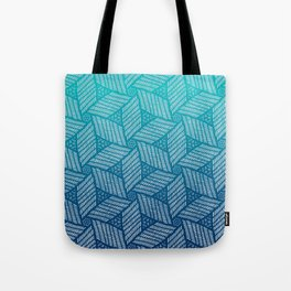 Japanese style wood carving pattern in blue Tote Bag