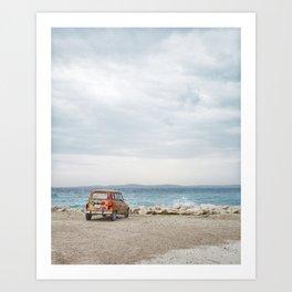 Orange Car, Blue Ocean Art Print