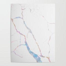 Teal White Glitter Marble II Poster