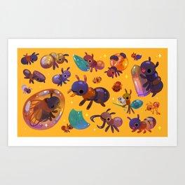 Ants - yellow Art Print