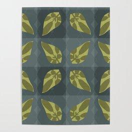 Leaf Shadow Checkerboard Poster