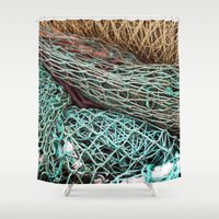 fishing Shower Curtains featuring FISHING NET by CAPTAINSILVA