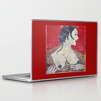 tits Laptop & iPad Skins featuring PORTRAIT OF A LADY EXPOSING HER TITS by JANUARY FROST