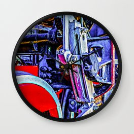 Blue And Red Grunge Mechanical Drives Of A Vintage Steam Engine Locomotive Wall Clock