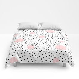 Pink And Black Modern Polka Dot Pattern Comforters