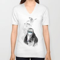 lady gaga V-neck T-shirts featuring Swan Love by Ariana Perez