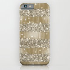 Gold Bokeh Faux Glittery Stripes iPhone 6s Slim Case
