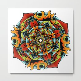 Flame Flower Mandala Metal Print