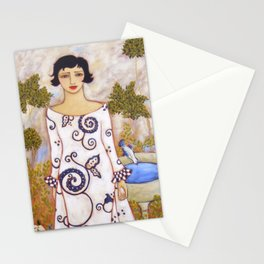 Woman in the Garden with White and Blue Gown, White Roses and Bird Stationery Cards