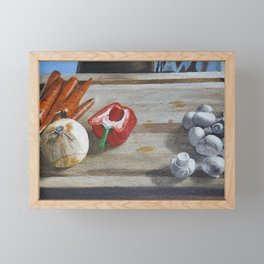 Still Life of Chopping Veggies Framed Mini Art Print