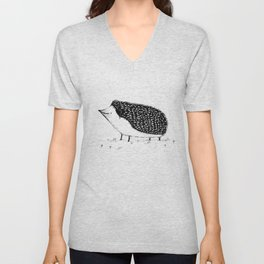 Monochrome Hedgehog Unisex V-Neck