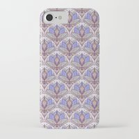 bedding iPhone & iPod Cases featuring Art Deco Lotus Rising 2 - sage grey & purple pattern by micklyn