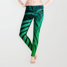 TROPICAL GREEN BLUE LEAVES Leggings