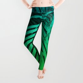 TROPICAL GREEN BLUE LEAVES Leggings