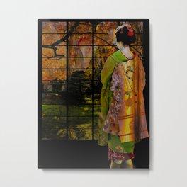 Geisha Looking out a Window Metal Print