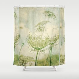 Sanctuary -- White Queen Anne's Lace Meadow Wild Flower Botanical Shower Curtain