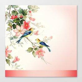 VINTAGE LOVE BIRDS | blush pink white Canvas Print