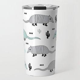Armadillo wester cactus illustration pattern Travel Mug