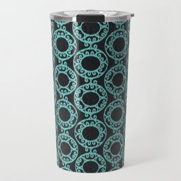 Scrolled Ringed Ikat - Caviar Aruba Blue Travel Mug