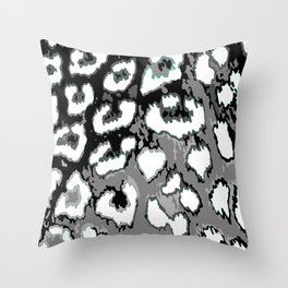 Black and White Leopard Spots Throw Pillow