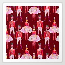 Nutcracker Ballet - Berry Red Art Print
