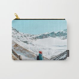 UNRECOGNIZABLE - PERSON - STANDING - ON - SNOWY - PATH - AND - ADMIRING - VIEW - ON - MOUNTAIN - PHOTOGRAPHY Carry-All Pouch
