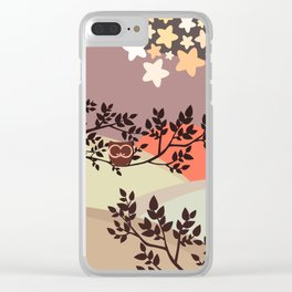 Quiet and peaceful night, cute owl snooze on the tree Clear iPhone Case
