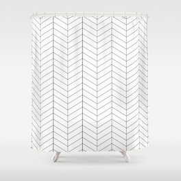 Herringbone - Black + White Shower Curtain