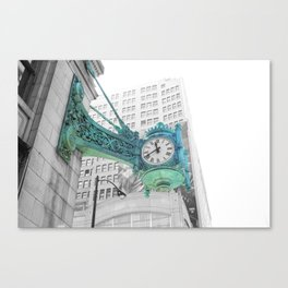 The Blue Chicago Clock Canvas Print