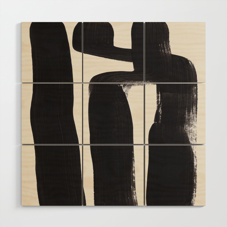 Mid Century Modern Minimalist Abstract Art Brush Strokes Black White Ink Art Ancient Stripes Wood Wall Art By Enshape